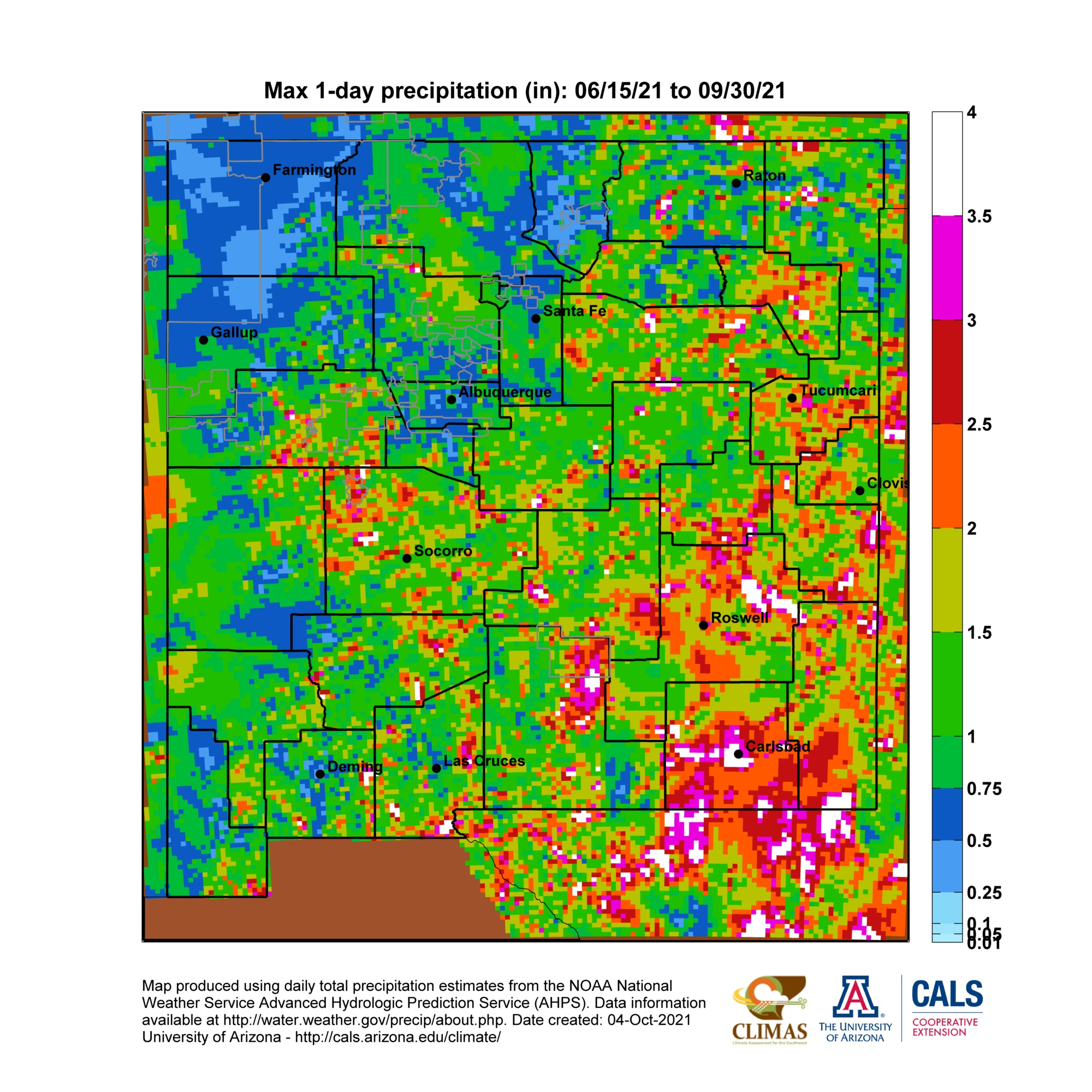 New Mexico Monsoon Season Precipitation Maps