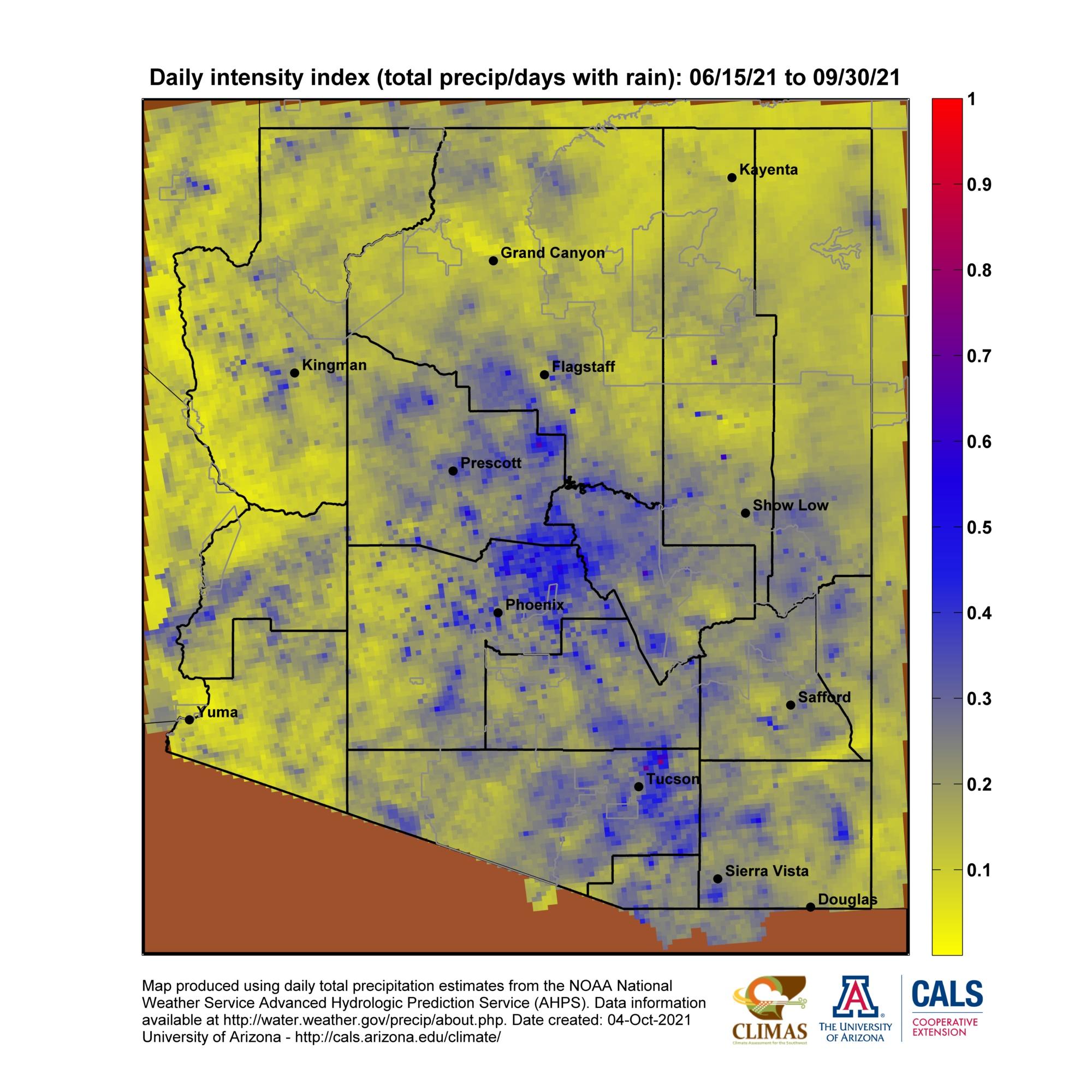 Map Of Arizona Daylight Savings Time.Arizona Monsoon Season Precipitation Maps