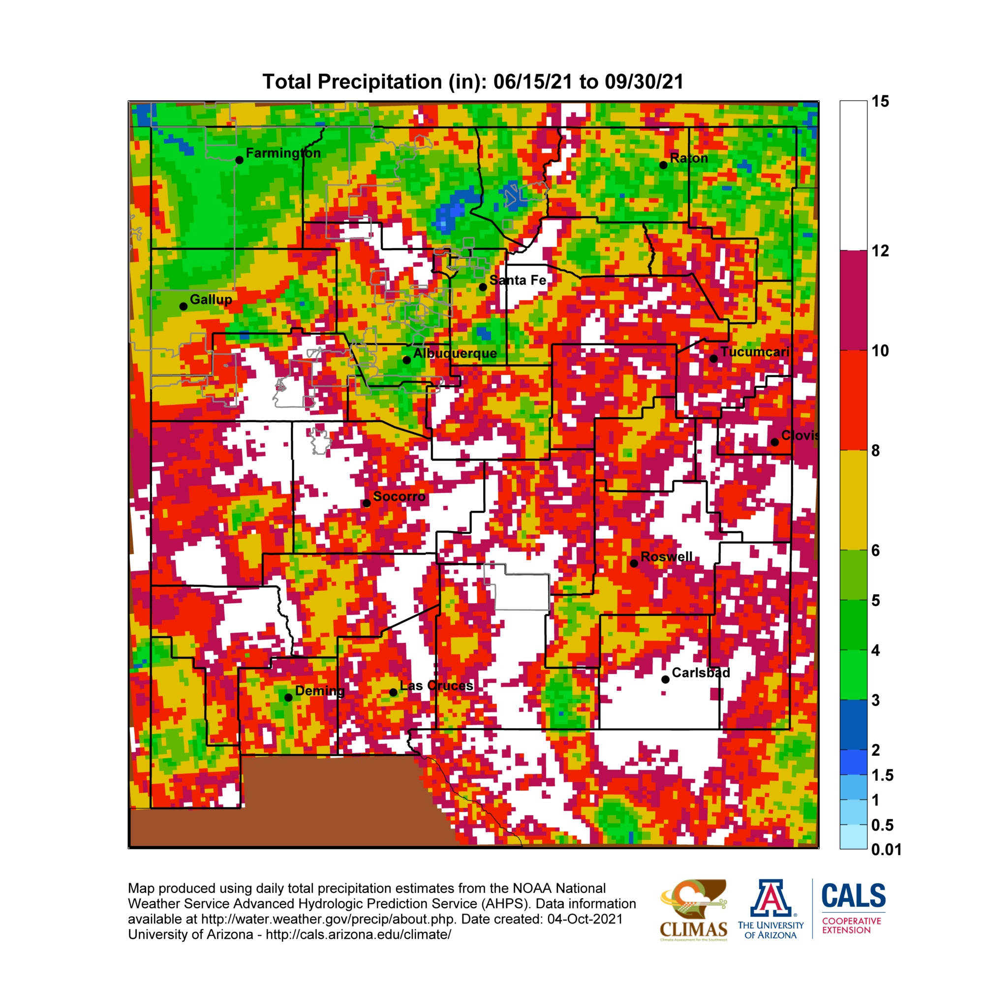 New Mexico Monsoon Season Precipitation Maps - Map of arizona and new mexico