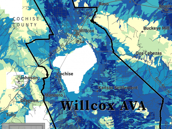 map of available water storage for Willcox AVA