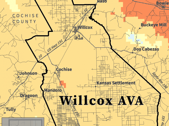 Biologically Effective Degree Days map for Willcox AVA