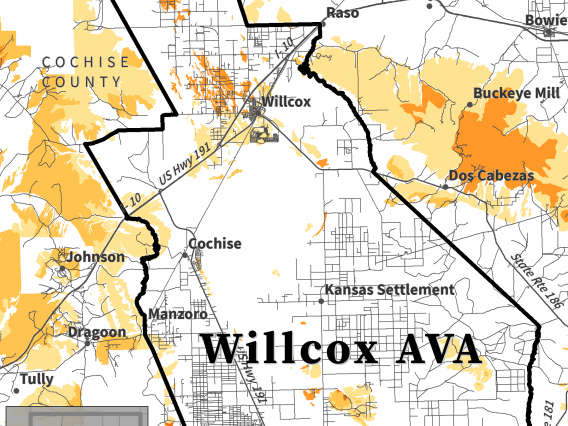 map of depth to bedrock for Willcox AVA