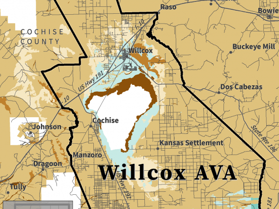 map of soil drainage class for Willcox AVA
