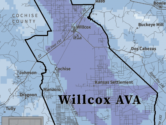 First Fall Freeze map for Willcox AVA