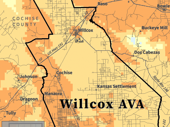 Growing Season Temperature map for Willcox AVA