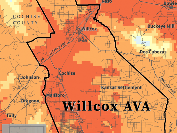 Huglin Index map for Willcox AVA