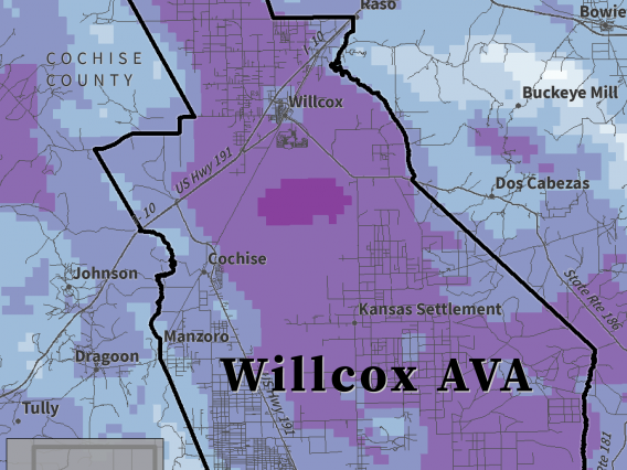 Last Spring Freeze map for Willcox AVA