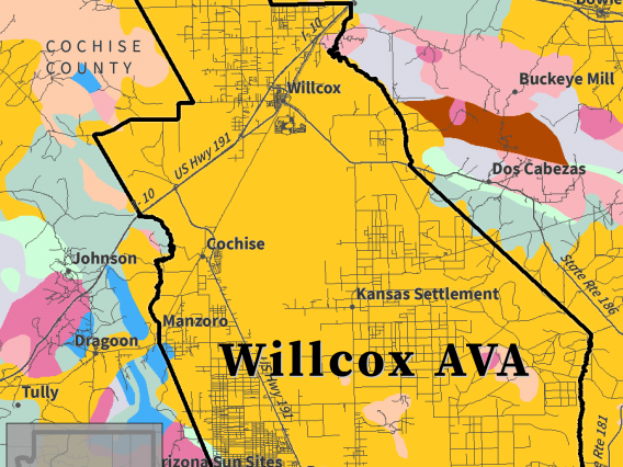 map of major rock types for Willcox AVA