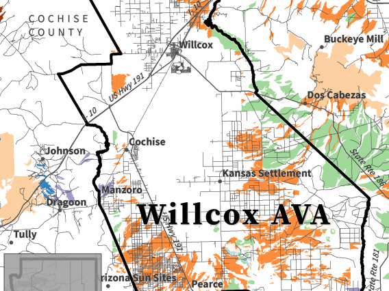 map of parent material for Willcox AVA