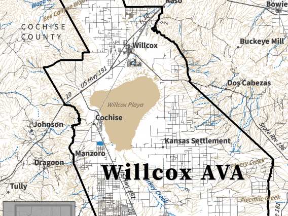 Surface water map for Willcox AVA