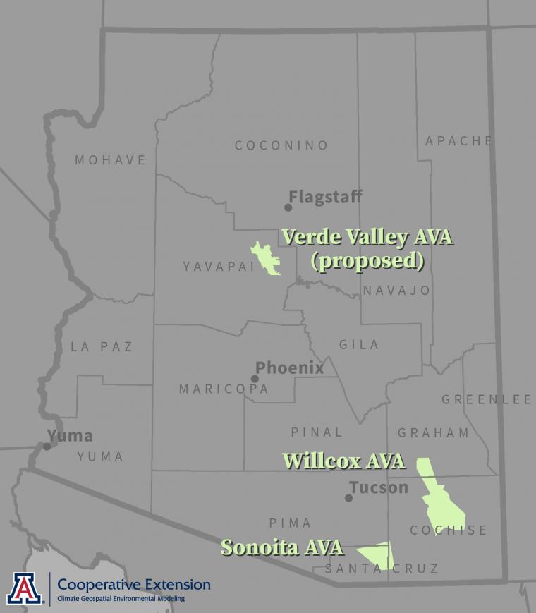 Arizona AVAs location map