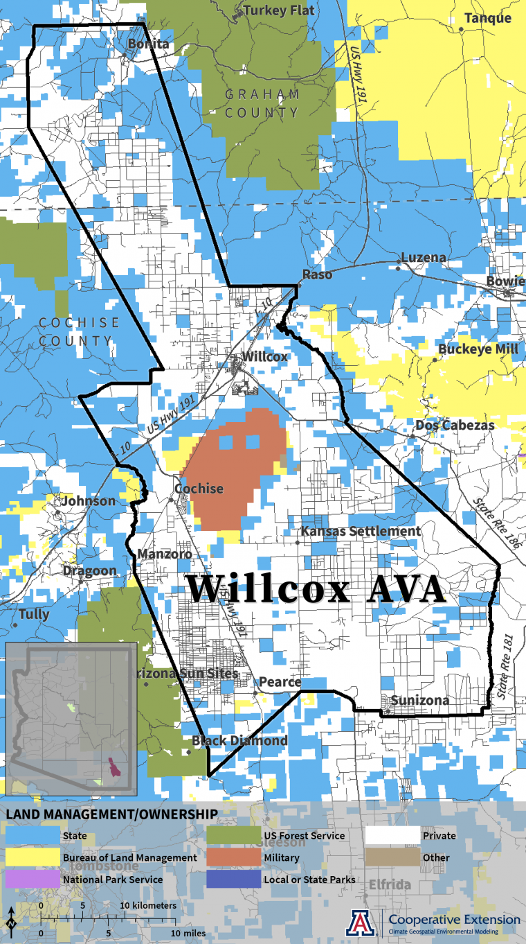 map of land management/ownership in Willcox AVA
