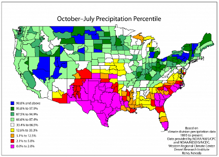 Less than 2 percent of the October-July periods since 1895 have been drier than they are currently for all of Texas and many parts of New Mexico. These areas experienced either their driest or second driest October-July periods in the last 117 years. Less than 6 percent of the October-July periods have been drier than current conditions in southeastern Arizona. (Source: Western Regional Climate Center)
