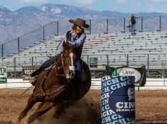 Shelby Bates barrel racing. Photo Credit: Gilson Photo