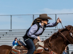 Shelby Bates, the rodeo team's president, during her competition. Photo Credit: Gilson Photo