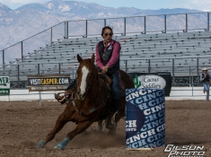 Alexandra Jeffers-Sample during her barrel competition. Photo Credit: Gilson Photo