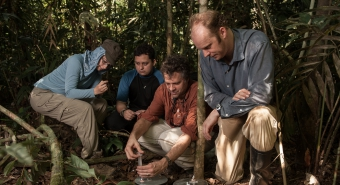 UArizona professors collect carbon samples in the forests of Peru, with students looking on,