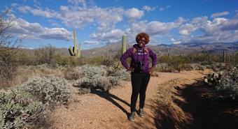 Earyn McGee hiking in the Sonoran Desert