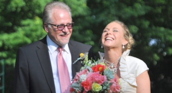 """""""Gordon """"Gordy"""" Erickson, CALS scholarship supporter, with his daughter at her wedding"""