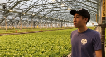 Brian Caplan looks over a greenhouse at Gothan Greens'
