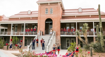 Homecoming celebrations in front of Old Main