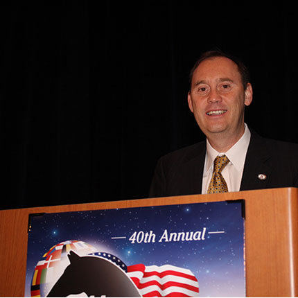 CALS Dean Shane Burgess at the 2013 Global Symposium (Photo Courtesy: Race Track Industry Program)