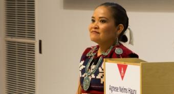 Karletta Chief helps make the team's presentation for the Haury challenge grant. (Photo: Ernesto Trejo/UANews)v